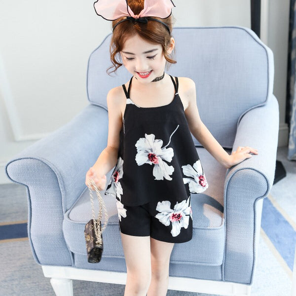 2018 new Children's clothing sets big girls black print sling vest + shorts 2 pcs suit kids sleeveless fashion camisole clothes - Slabiti
