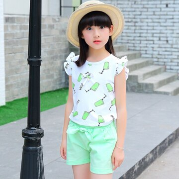 2018 new arrival Girl Sets for Summer Suits Cotton Short Sleeve T Shirt +pant Shirt Baby Sets Pink Red Green Color 3-13 Ages - Slabiti