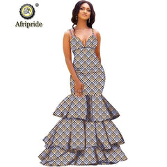 2019 African long maxi dresses for women party wedding ball gown floor length sexy dress crop top sleeveless AFRIPRIDE S1925080 - Slabiti