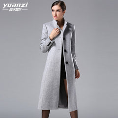 2019 Autumn Winter New Large Size Women Cashmere Coat Fashion Europen Classical Female Overcoat Stand Collar Long Woolen Coat - Slabiti