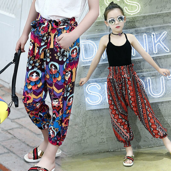 2019 Girl Summer Children's clothing Bohemia Beach 9 point pants Bloomers Ethnic style India pants Rubber belt for 4-14 years - Slabiti