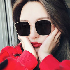2019 NEW Square Frame Vintage Sunglasses Women Oversized Big Size Sun Glasses for Men Female Shades Black UV400 Eyewear - Slabiti