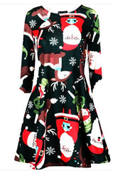 2019 New Christmas Girls Dress Mother Daughter Dress Family Xmas Dress Long Sleeve Santa Claus Print Dress New Year Party Dress - Slabiti