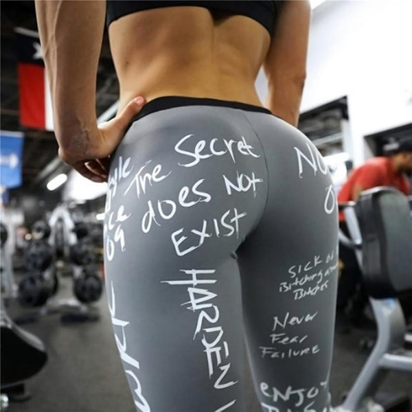 2019 New Fashion Letter Print Leggings Women Slim Fitness High Waist Elastic Workout Leggings for Gym Sport Running Europe Size - Slabiti