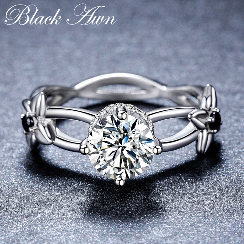 2019 New Romantic 925 Sterling Silver Fine Jewelry Engagement Black Spinel Flower Engagement  Ring for Women Anillos Mujer G083 - Slabiti