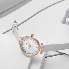 2019 New SINOBI Watch Women White Leather Strap Fashion Flower Design Women Watches Quartz Wristwatch Ladies Watch Gift Dropship - Slabiti