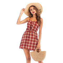 2019 New Summer Fashion Ladies Sexy A Word Dress Red Plaid Strap Dress Backless Lace Shorts Dress Casual Dress 5990 - Slabiti