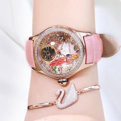 2019 Reef Tiger/RT Womens Luxury Fashion Watches Diamond Automatic Tourbillon Watch Leather Strap Watch Relogio Feminino RGA7105 - Slabiti