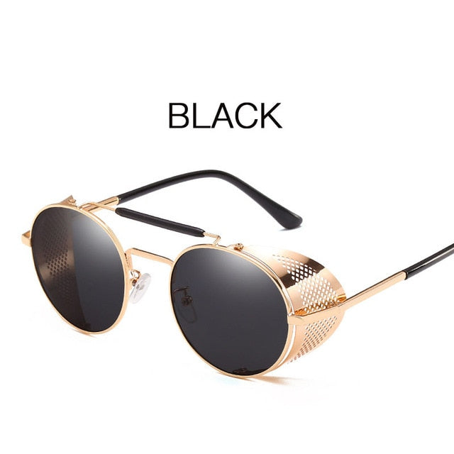 2019 Retro Steampunk Sunglasses Round Designer Steam Punk Metal Shields Sunglasses Men Women UV400 Gafas de Sol - Slabiti