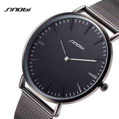 2019 SINOBI New Fashion Simple Street Leisure Men Watches Black Mesh Stainless Steel/Leather Slim Quartz Casual Watch Men Clock - Slabiti