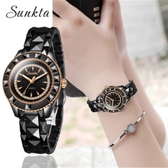 2019 SUNKTA Black Ceramic Women Watches Ladies Fashion Simple Quartz Watch Women Top Brand Luxury Female Clock Relogio Feminino - Slabiti