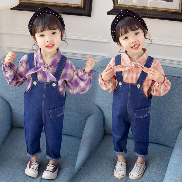 2019 Spring Autumn toddler Baby Girls Clothing Set Toddler Long Sleeve Blouse + Denim Overalls Jeans Pants Kids Clothes Set - Slabiti