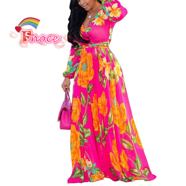 2019 Summer Women Maxi Dress Floral print Chiffon Plus Size Boho Style Vestidos Elegant Beach Long Dress Big Size Dresses - Slabiti