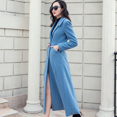 2019 Winter Coat Women Suit Collar Single-breasted Pocket Wool Blend Coat Oversize Long Blue Trench Coat Outwear Wool Coat Women - Slabiti