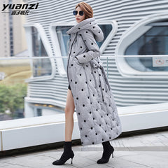 2019 winter new white duck down hooded down jacket for women thickened long fit to ankle warm coat 6017 - Slabiti