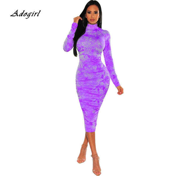 2020 Spring Ruched Tie Dye Print Long Women Dress Sexy O Neck Long Sleeve Neon Tube Bodycon Party Dress Streetwear Club Outfits
