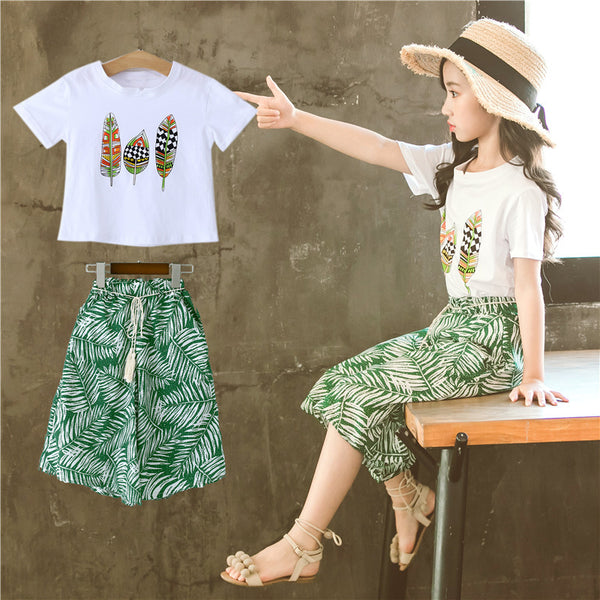 2020 Summer New Fashion Girls Clothes Printed Short Sleeve T-Shirt Top+ Shorts 2PCS Children Girls Clothing Suit 4 6 8 10 12 14Y - Slabiti