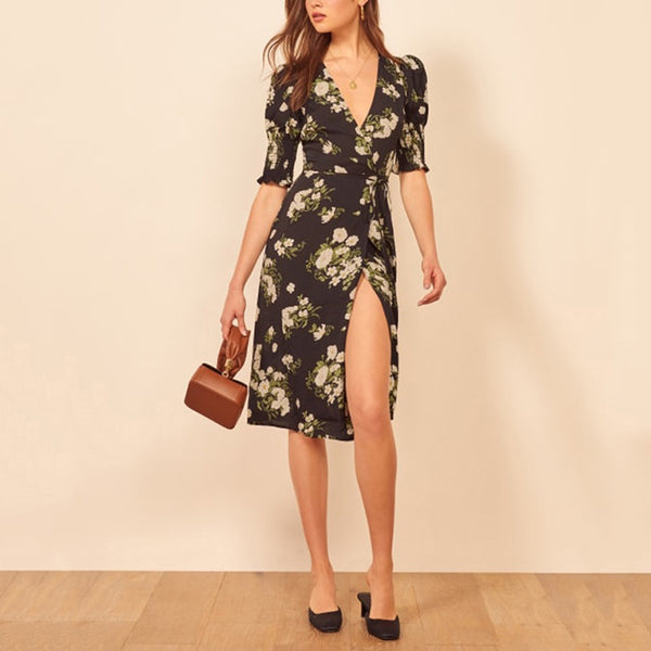 2020 Vintage Chiffon Floral Boho Dress Women Sexy Midi Dress Summer Elegant Black Beach Party Dress Korean Vestidos - Slabiti
