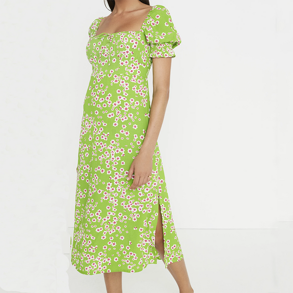 2020 Women's Printed Sundress Bohemian Squre Neck Green Dress Tunic Vestidos Female Fashion Long Dress Robe Femme - Slabiti