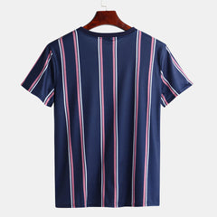 Mens Summer Big Stripe Design Crew Neck Short Sleeve Casual Shirts - Slabiti