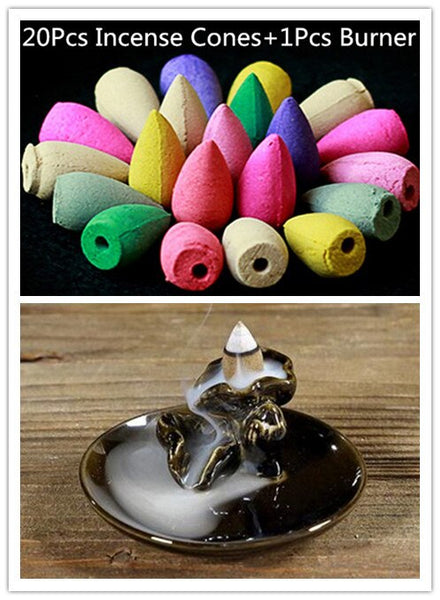 20Pc Natural Backflow Incense + 1Pcs Burner Pure Manual Multi-function Ceramics Burners Crafts Gift Incense Disc Lotus Fragrance - Slabiti
