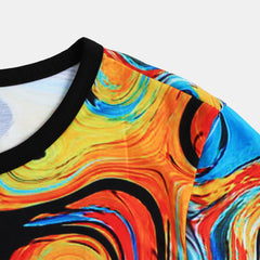 Mens Summer Colorful Printed Crew Neck Short Sleeve Casual Shirts - Slabiti