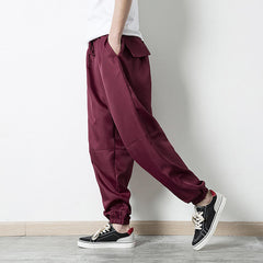 Mens Vintage Drawstring Solid Color Loose Casual Pants - Slabiti