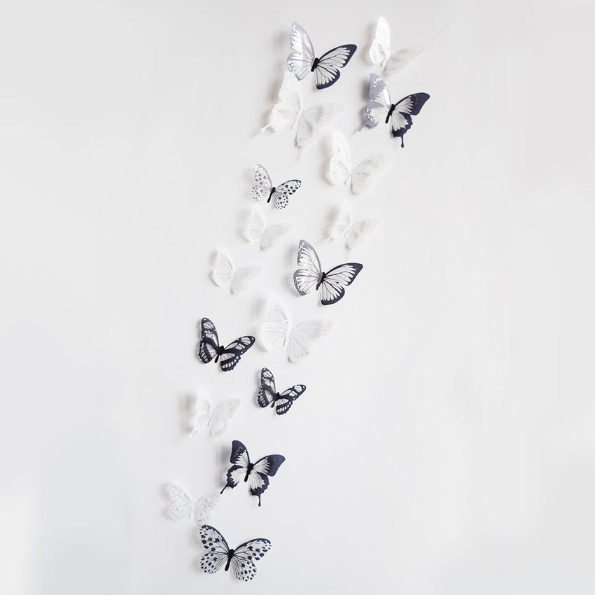 18 Pcs 3D Butterflies Wall Sticker PVC DIY Removable Decor Waterproof Mural Decoration Wall Stickers - Slabiti