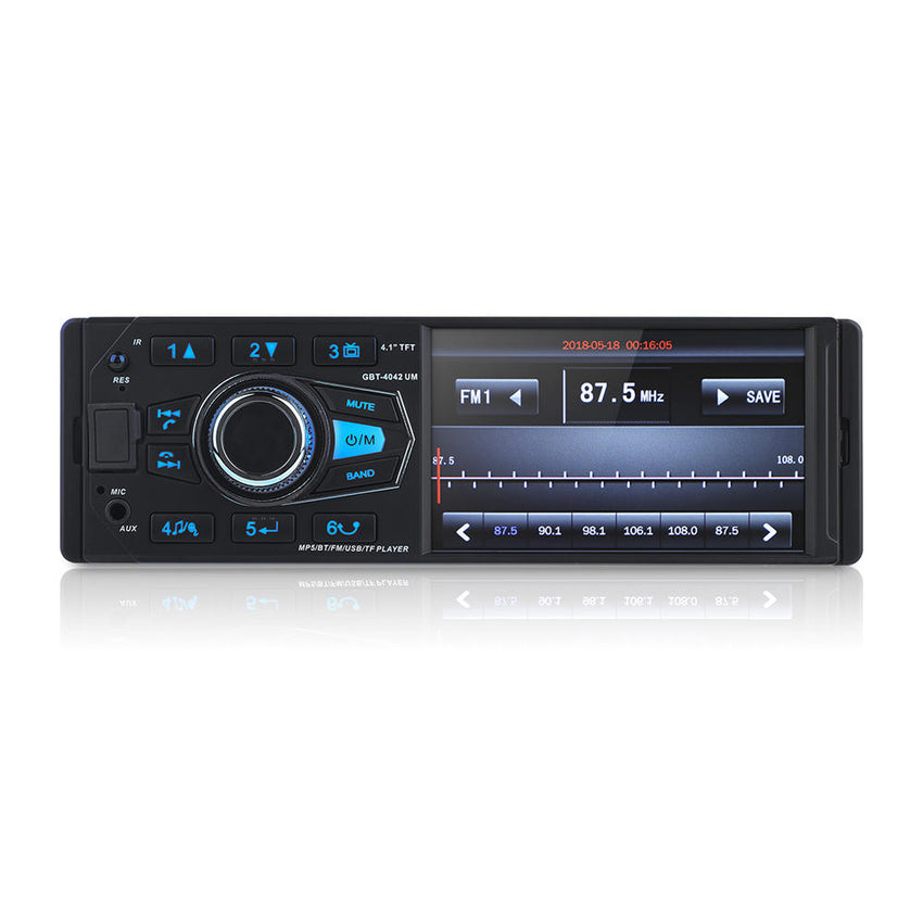 4.1Inch 1 DIN HD Car Stereo Video MP5 Player bluetooth FM Radio AUX USB SD TF Support Rear View Camera - Slabiti
