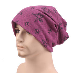 Mens Women Cotton Knitted Beanies Hat Star Printed Winter Warm Soft Caps - Slabiti