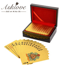24K Gold Poker Playing Cards Gold Foil Poker Party Birthday Gifts Waterproof Game playing cards Gold poker set Wooden Gifts Box - Slabiti