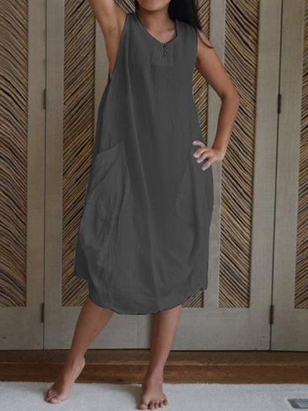 Women Cotton Sleeveless Button Side Pocket Casual Dress