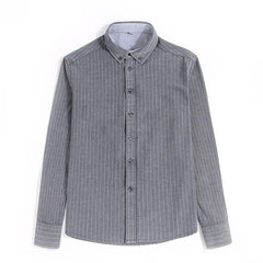 Mens Fashion Striped Long Sleeve Cotton Square Collar Casual Shirts - Slabiti