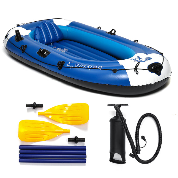 225x127cm 3 Person Inflatable Rowing Boat Bearing 210kg PVC Rubber Fishing with Paddles Pump - Slabiti