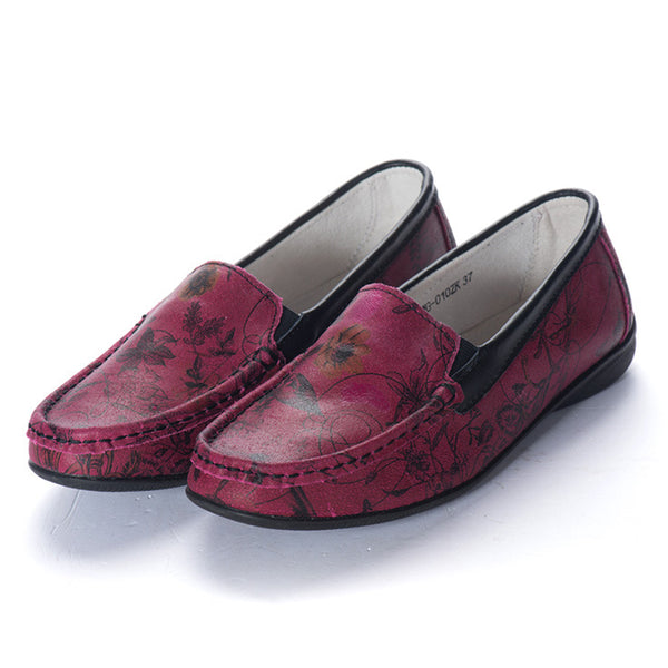 Leather Pattern Casual Slip On Loafers Shoes