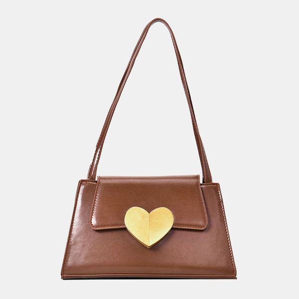 Women Heart-shaped PU Casual Shoulder Bag Handbag - Slabiti