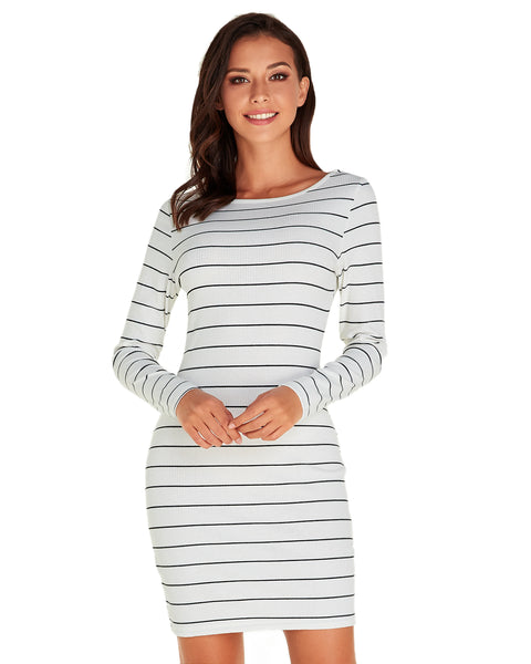 Striped Pencil Bodycon Crew Neck Casual Dress