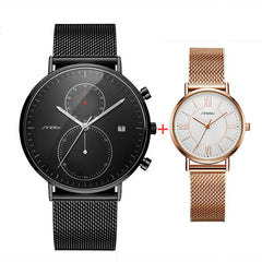 2PCS Black Watches For Men Women Lover Watch SINOBI Simple Steel Mesh Fashion Quartz Wristwatches For Men Ladies Couple Set - Slabiti
