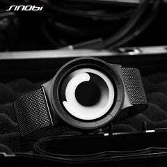 2PCS SINOBI Men Women Unique Vortex Concept Watch 316L Stainless Steel Sport Black Wrist Watches For Men Ladies Watches Set - Slabiti