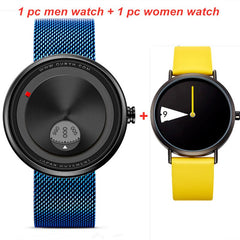 2PCS SINOBI Watches Original Creative Men Women Watch Rotate Dial Plate Watches Sports watch Men Ladies Wristwatches Set Gifts - Slabiti