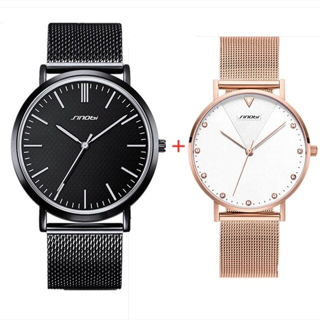 2PCS Watches SINOBI Men Women Watch Steel Mesh Band Fashion Quartz Wristwatch For Men Ladies Simple Watch Set Gift box reloj - Slabiti