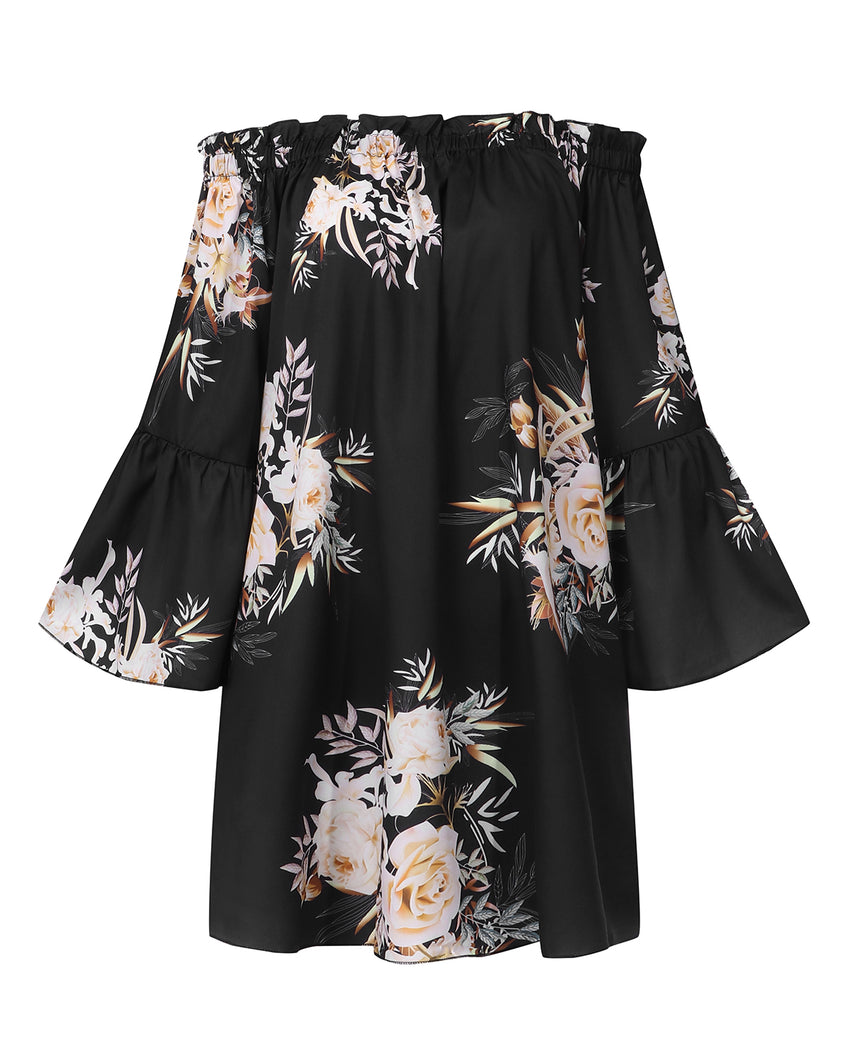 Off Shoulder Floral Print Ruffle Sleeve Blouse Mini Dress