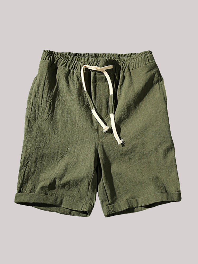 Mens Summer Breathable Solid Color Elastic Drawstring Casual Shorts - Slabiti