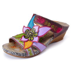 SOCOFY Bohemian Genuine Leather Hook Loop Handmade Flowers Sandals - Slabiti