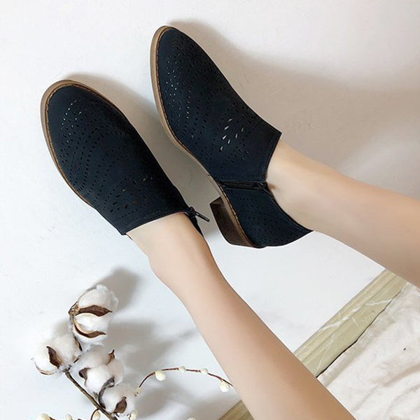 Breathable Hollow Open Side Loafers