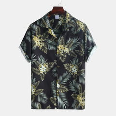 Men Floral Printed Short Sleeve Hawaiian Shirts - Slabiti