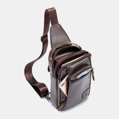 Bullcaptain Vintage Genuine Leather Chest Bag Crossbody Bag Shoulder Bag - Slabiti