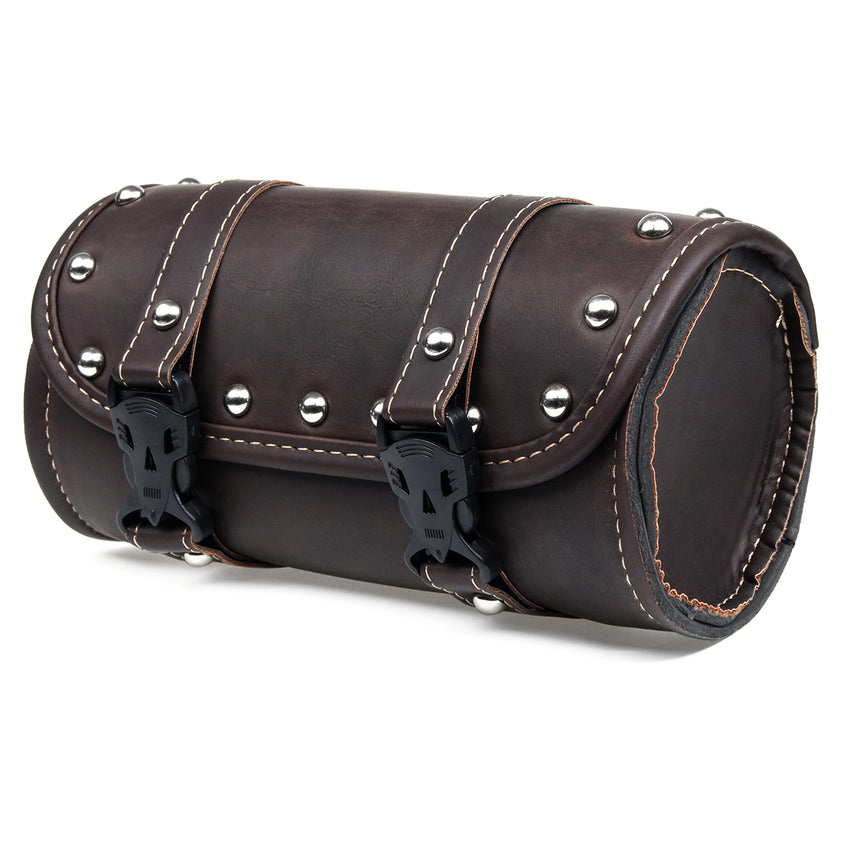 Motorcycle Front Fork Tool Saddle Bag Pouch Saddlebags Luggage Leather Barrel Dark Brown - Slabiti