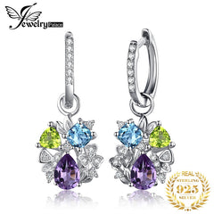 2ct Genuine Amethyst Peridot Blue Topaz Stud Earrings 925 Sterling Silver Earrings For Women Korean Earings Fashion Jewelry 2019 - Slabiti