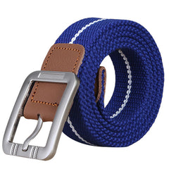 Mens Nylon Spot Woven Military Tactical Belt Leisure Solid Adjustable Waistband With Alloy Buckle - Slabiti